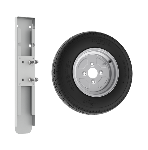 This image shows the components for the Foldy spare wheel kit.